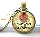 Pretty Lee Pendant Glass Dome Keep Calm Eat A Cupcake Necklace Glass Art Pendant Picture Pendant Photo Pendant Handcrafted Jewelry