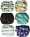 #3: Mama Koala One Size Baby Washable Reusable Pocket Cloth Diapers, 6 Pack with 6 One Size Microfiber Inserts (Jagger)