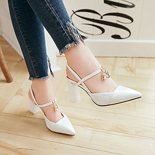 with white color female spell thick heeled high shoes sandals and Tip versatile Baotou Rqw5C74