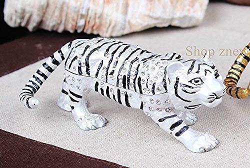znewlook Tiger Trinket Box Pewter Enamel Animal Figure Wildlife Statue Vintage Tiger Bejeweled Jewelry Box