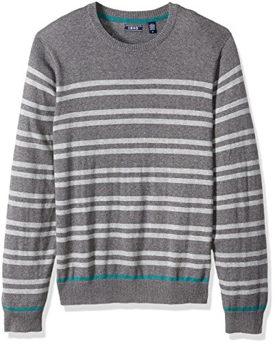 IZOD Men's Fine Gauge Crew Sweater, Carbon Heather, Small (Fine Gauge Wool)