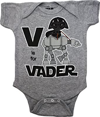Star Wars V is for Vader Infant Bodysuit, Heather Grey, 0-6 Months