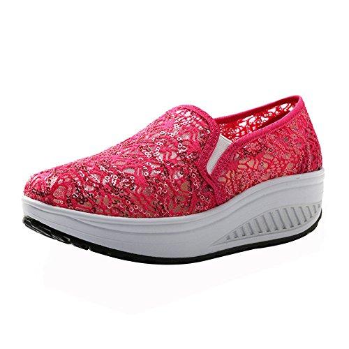 KUIBU Women Lightweight Sport Breathable Slip-On Platform Toning Shoes Crochet High Heel Sneaker Athletic
