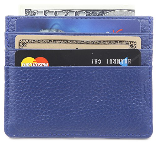 DEEZOMO Genuine Leather RFID Blocking Card Case Wallet Slim Super Thin 6 Card Slots Compact Wallet - Navy Blue