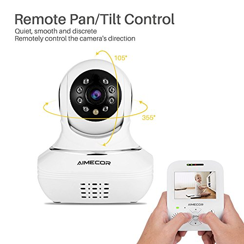 WIRELESS VIDEO BABY MONITOR WITH 3.5'' Digital Color LCD Screen, Tilt,Infrared Night Vision, Temperature, Two Way Talk Function and Lullabies Includes Compatible Mount Shelf by AIMECOR
