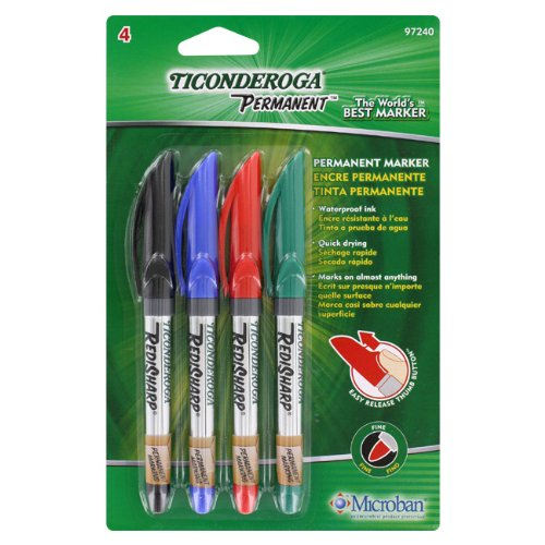Ticonderoga RediSharp Permanent Markers, Fine Point, Set of 4 Markers, Red, Black, Green and Blue (97240)