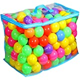 KEVENZ 200-Pack 2.4 inch Multi-Colored Non-Toxic Crush Proof PE Plastic Ball, Pit Balls With Reusable and Durable Storage PE Bag with Zipper