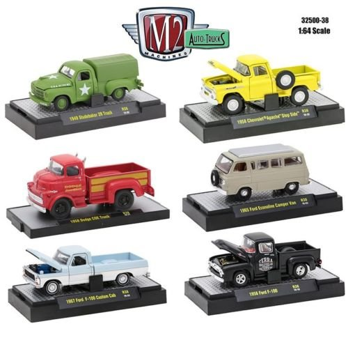 - 1:64 M2 MACHINES COLLECTION - AUTO-THENTICS RELEASE 38 IN ACRYLIC CASES Diecast Model Car By M2 Machines Set of 6 Cars