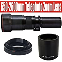 650-1300mm Telephoto Zoom Lens with 2x Teleconverter (=650-2600mm) for Nikon DF, D4, D3X, D3, D800, D700, D610, D600, D300S, D300, D90, D7000, D7100, D5300, D5200, D5100, D5000, D3300, D3200, D3100 and D3000 Digital SLR Cameras