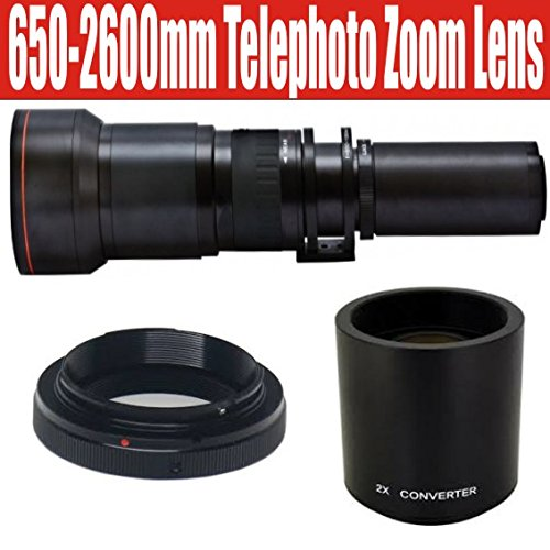 650-1300mm Telephoto Zoom Lens with 2x Teleconverter (=650-2600mm) for Canon EOS 7D, 6D, 5D, 1DX, 70D, 60D, 50D, 40D, T5i, T4i, T3i, T3, T2i and SL1 Digital SLR Cameras