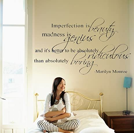 Marilyn Monroe Quote Decor ~ Imperfection Is Beauty ~ Vinyl Lettering Wall  Decal Sticker Girls Dorm