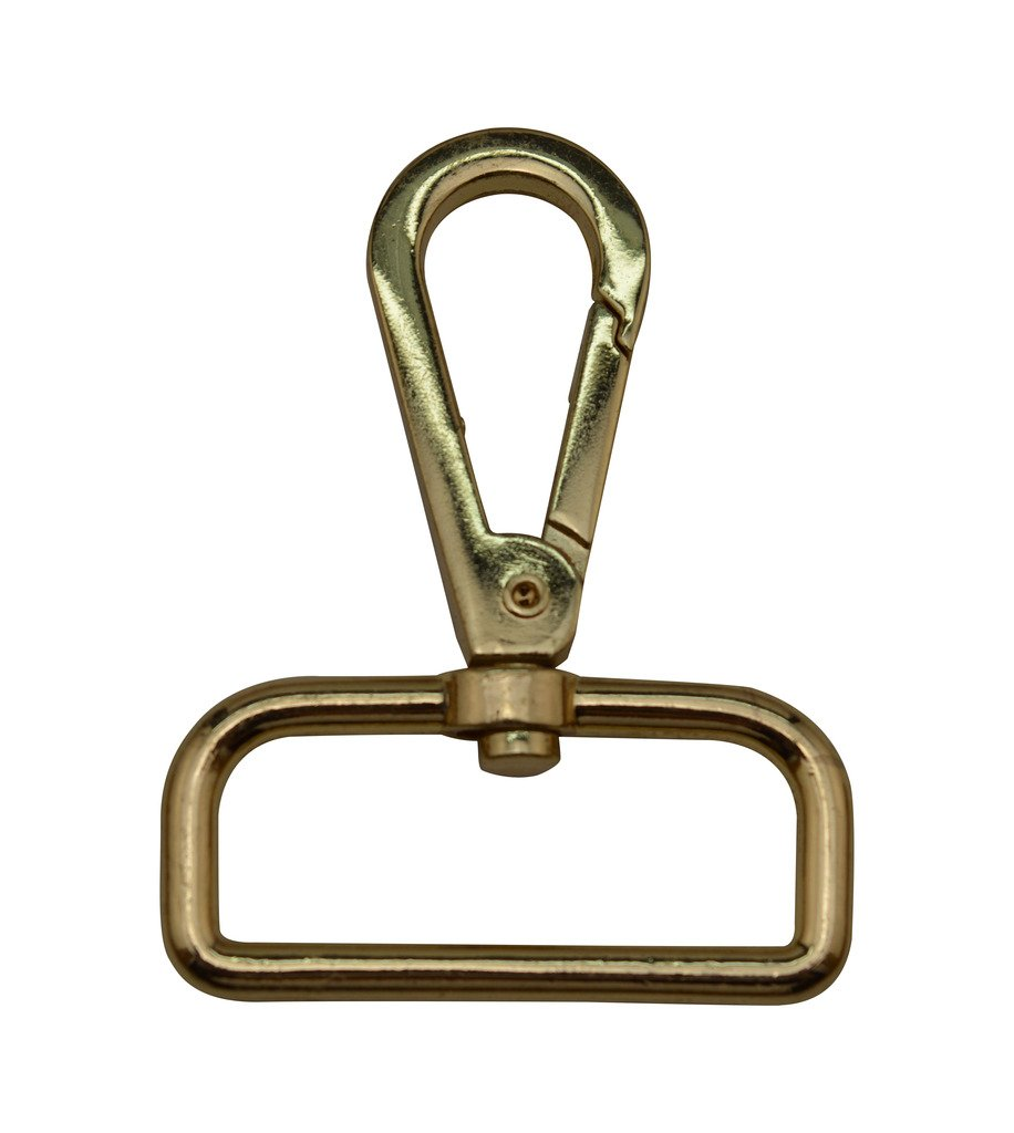 Tianbang Golden 1.5 Inside Diameter D Ring Lobster Clasp Claw Swivel Eye Lobster Snap Clasp Hook for Strap Pack of 4