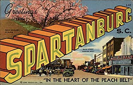 Greetings from spartanburg sc in the heart of the peach belt greetings from spartanburg sc in the heart of the peach belt original vintage postcard m4hsunfo