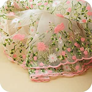 "Lace Fabric Organza Pink Flower Embroidery Wedding Fabric 51"" width by yard"