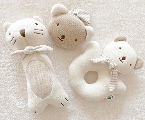 (Kitty & Baby Bear Rattle Set)100% Organic Cotton(No Dyeing Natural Organic Cotton)