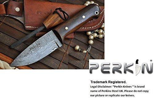 Perkin Knives Custom Handmade Damascus Hunting Knife with Sheath and Sharpener (Bushcraft Knife Sharpener compare prices)