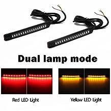 Purishion 2x Universal Flexible LED Turn Signal Tail Brake License Plate Light Integrated for Motorcycle Bike ATV Car RV SUV, Brake/Running Tail Light(2Pack) (Amber Red)