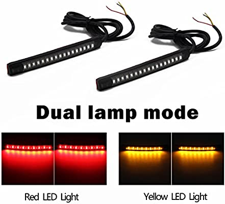 Motorcycle 48 LEDs License Plate Light Red Amber Tail Brake Stop With Cable Wire