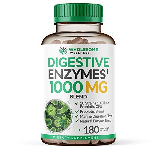 Digestive Enzymes 1000MG Plus Prebiotics & Probiotics Supplement, 180 Capsules, Organic Plant-Based Vegan Formula for…