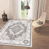 "Home Way Black White Grey Bright Classic Off White Area Rug 7'10"" x 9'10"" Casual Modern Rug Dining Living Room Bedroom Easy Clean Carpet Review"