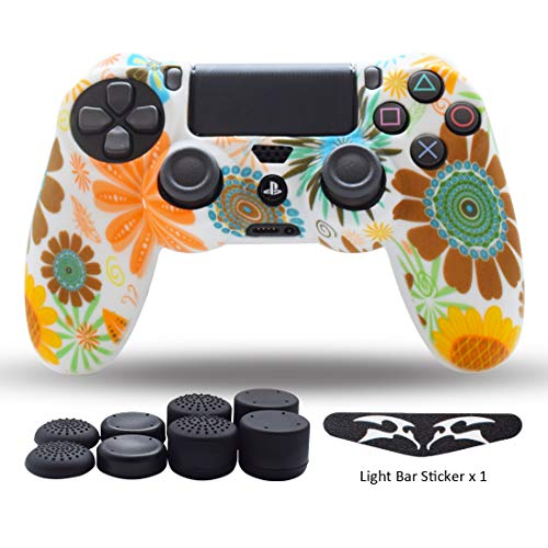 (PS4 Controller Skin,Silicone Grips for Playstation 4 PS4/Slim/Pro Controller Anti Slip Cover Case Protector for Dual Shock 4 Controller - One Light Bar Sticker - 8pcs Pro Thumb Grips-Yellow Flower )