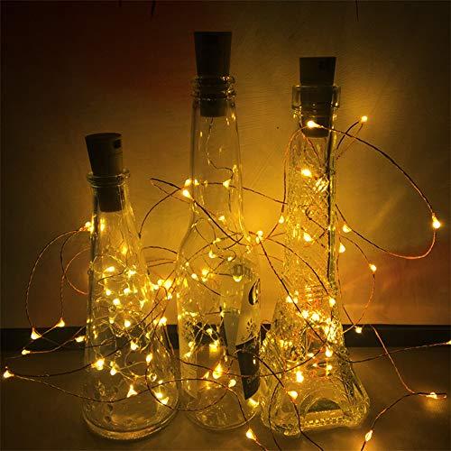 VINGO 10 Stück LED Flaschenlicht- 20 LEDs 2M Warmweiß Flaschenlichterkette Korken Schnurlicht led Batteriebetrieben Kupferdraht Lichterkette Romantisch für DIY Deko Weihnachten Party Urlaub Garten