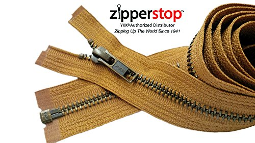 Zipperstop Wholesale YKK®- Jacket Zippers YKK® #5 Antique Brass- Metal Teeth Separating for Crafter's Special Color Golden Brown #508 Made in USA -Custom Length (12 inches)