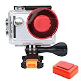 VVHOOY Action Camera Waterproof Housing Case with Red Filter and Floaty Sponge for AKASO EK7000/Wewdigi/GooBang Doo 4K Camera Underwater 30M Underwater Video Filming Accessories