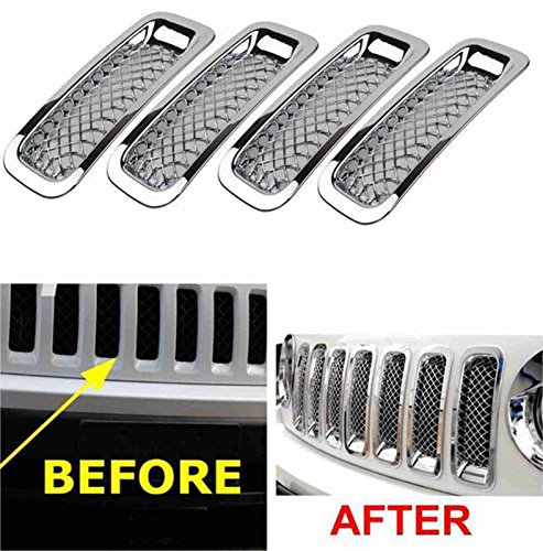 FMtoppeak Set Silver Front Grille Trims Kit Grill Insert Covers for 2011-2016 Jeep Patriot ()