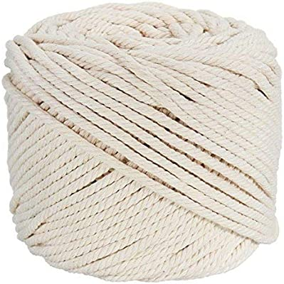 Cuerda de algodón natural de 4 mm N/A, 110 m, para colgar en la pared, colgar plantas, manualidades: Amazon.es: Jardín
