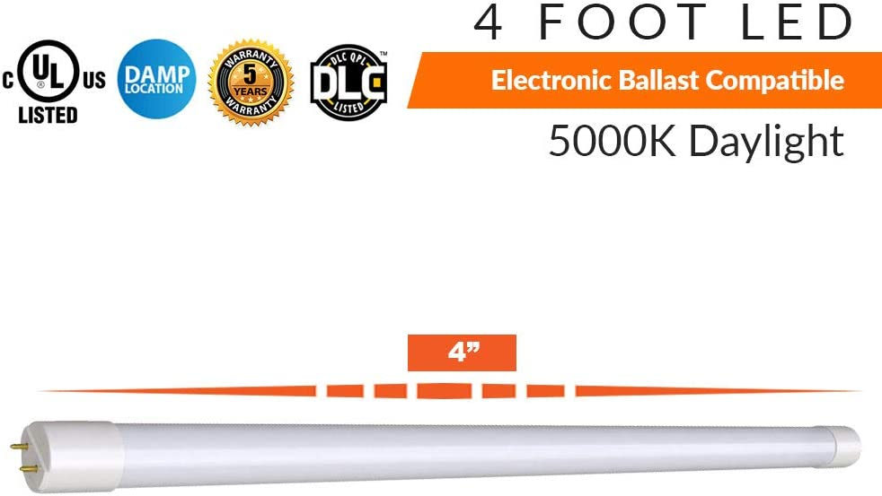 Luceco LED T8 5000K Daylight 2000 Lumen Electronic Ballast Compatible 20 Pack 4 Foot LED Tube Lights 15 Watt