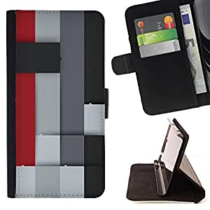 BETTY - FOR Apple Iphone 4 / 4S - Colorful Block - Style PU Leather Case Wallet Flip Stand Flap Closure Cover