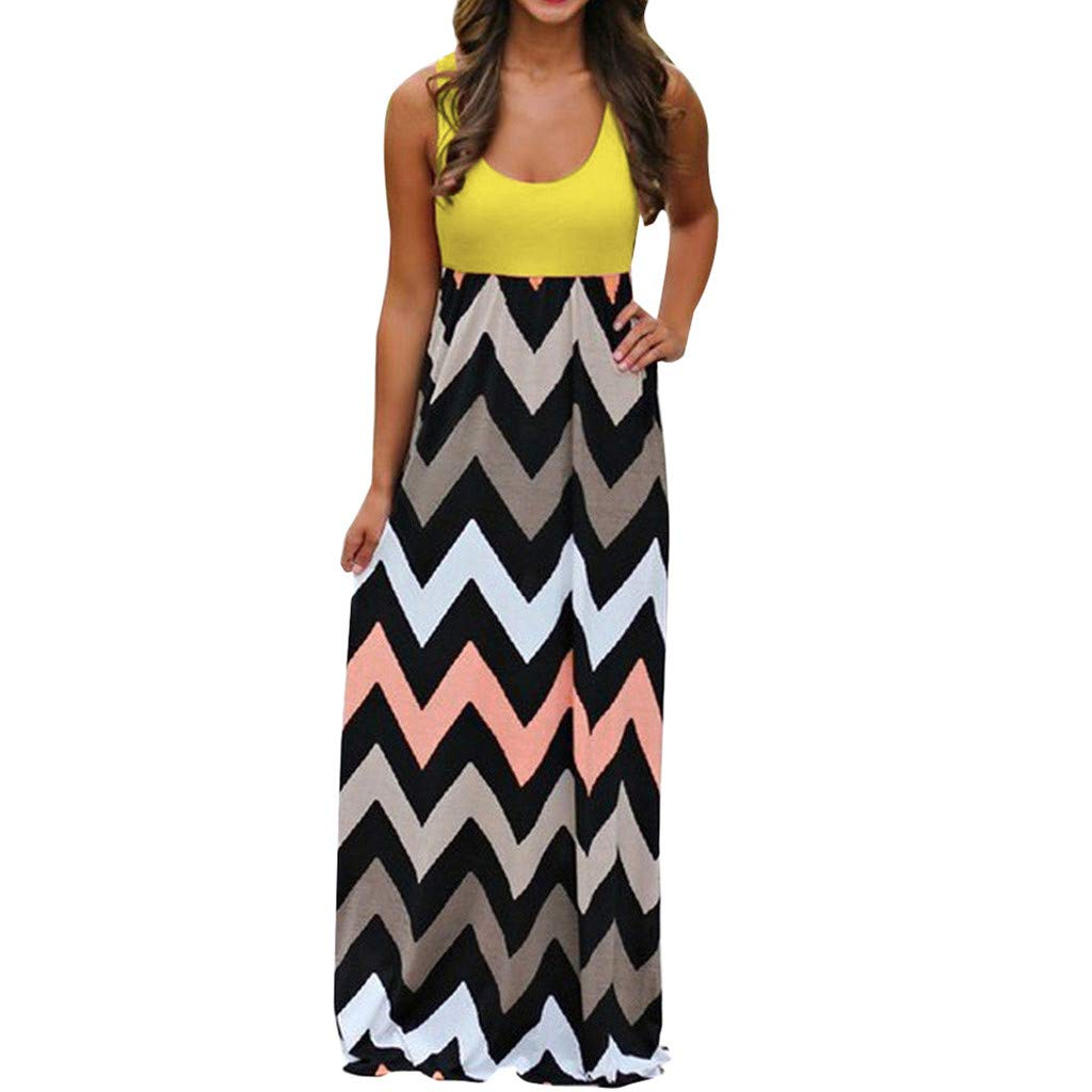 Gibobby Women's Casual Sleeveless Long Maxi Dress Striped Solid Color Tunic Beach Summer Boho Maxi Dresses Plus Size Yellow