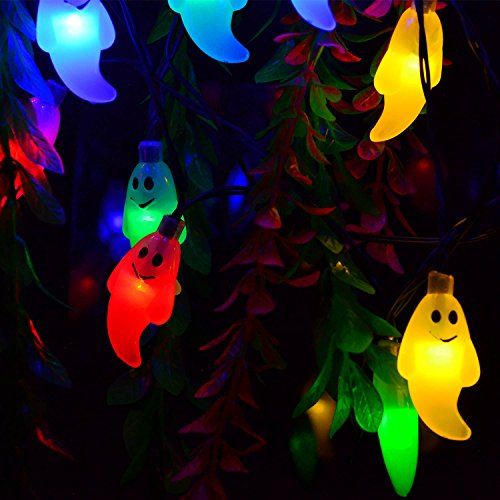 ACEHOME Solar String Lights, 30 LED Waterproof IP65 Cute Ghost LED Holiday Lights for Outdoor, Cosplay, Halloween Parties Home Decorations, Steady / Flickering Lights for Xmas Tree 20Ft Multi Color