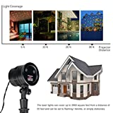 Excelvan Low Safe Voltage 5V IP65 Waterproof Led Laser Stage Shows Light Projector with Santa, Snow, Shinning Star Modes for Wedding Bar Party Inside Outdoor Decoration, Remote Control Included