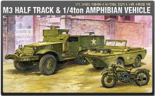 Vehicle Kit Amphibian (Academy 1/72 Plastic Model Kit M3 Half Track&1/4ton Amphibian Vehicle 13408 NIB)