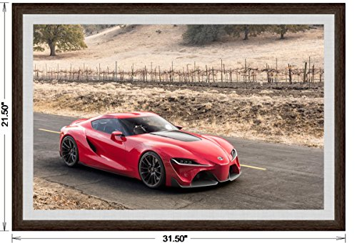 Toyota FT-1 Concept (2014) Framed Car Art Poster Print Red Front Side Static View in Dark Walnut Frame, 1