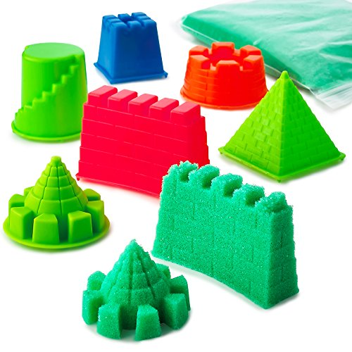 Kicko Craft Sand with Molds - 6 Assorted Colors Castle Molds 1 Pack of Magic Play Moving Sand - for Kids Boys, Girls, Beach Fun, Sensory Toy, Gift, Prize, Summer, Outdoor Creativity