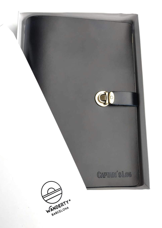 Cuaderno De Piel A5. Cuaderno De Bitácora Azul. Regalo Náutico. Libro De Navegación/yatch. Libro De Embarque. por None