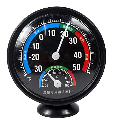 Gracefulvara Reptile Thermometer Humidity (Hygrometer) Dial Gauges with Colour Codes Precision Analog Reptile Thermometer