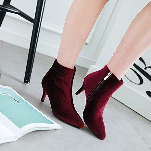 YE Damen Spitze Ankle Boots Stiefeletten Stiletto High Heels mit Reißverschluss 8cm Absatz Simple Elegant Schuhe Rot