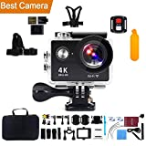 Action Camera Kebo 4K WIFI Ultra HD Underwater Sports Camera with Remote Control 170°Wide-angle 2 Inch LCD Plus 2 Rechargeable Batteries and Full Accessories Kit
