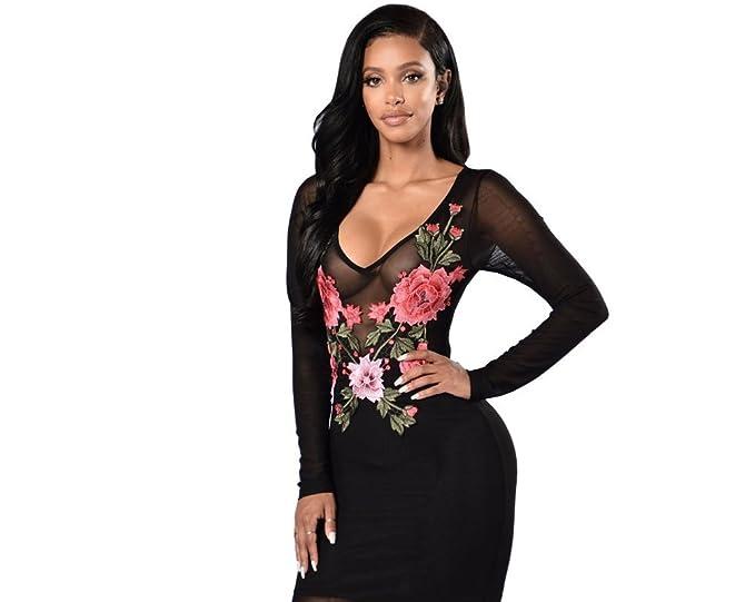 Carolina Dress Vestidos Ropa De Moda Para Mujer De Fiesta y Noche Casuales Elegante Negro (