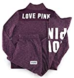 Victoria's Secret PINK Perfect Quarter Zip and Sweat Pants Set Black Orchid Medium