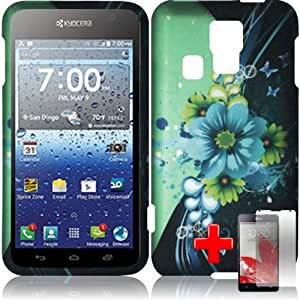 Kyocera Vibe - 2 Piece Snap On Rubberized Image Case Cover, Blue Yellow Flower Pattern Black Green Wave Design + SCREEN PROTECTOR