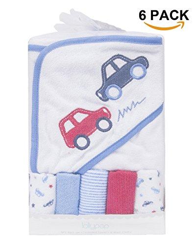 Baby Hooded Towel & 5 Washcloths Set,Super Cozy Animal Embro