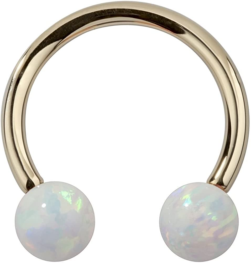 FreshTrends Synthetic Opal 14k Yellow Gold Circular Barbell Cartilage Tragus Earring Lip Ring 16G 3//8