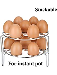 Kspowwin 2 Piece Upgraded Version Stackable Stainless Steel Egg Steamer Rack for Instant Pot Accessories and Pressure Cooker(2 Pcs Stackable Egg Rack)