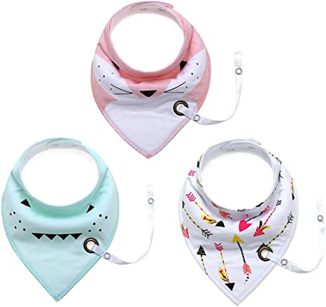 Baby Bibs With Dummy Clips Chain Pure Cotton Bandana Feeding Kids Toddler