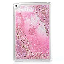 Liquid Case for iPad Mini 4,Creative Design Bling Glitter Shiny Quicksand Sparkle Stars and Flowing Liquid Transparent Plastic Case for Apple iPad Mini 4(Star Pink)